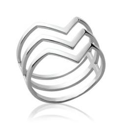 Bague originale très mode argent massif trois faux anneaux graphique Ethnic chic
