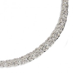 Gros collier argent massif en chute maille bysantine