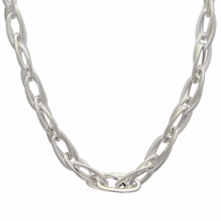 Gros collier argent double maillons ovales entrelacés